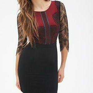 Burgundy and Black Knit Lace Overlay F21 Dress